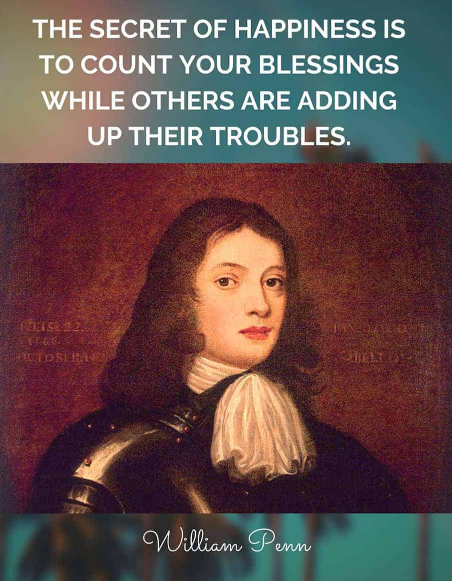 William Penn quote on counting your blessings
